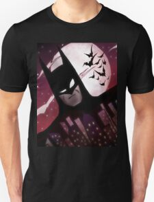 BATMAN from the Animated Series, Gotham Cityscape, Full Moon, and Bats T-Shirt