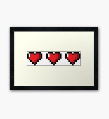 Full Life Video Game Hearts Framed Print