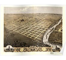 Panoramic Maps Bird's eye view of the city of Topeka the capital of Kansas 1869 Poster
