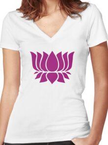 lotus flower zen yoga Women's Fitted V-Neck T-Shirt