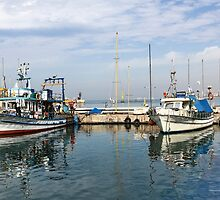 Israel, Jaffa, Fishing boats in the ancient port by PhotoStock-Isra