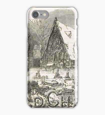 Old Christmas Church Snow scene 1862 iPhone Case/Skin