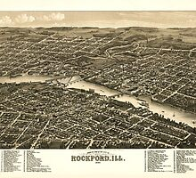 Panoramic Maps Bird's eye view of the city of Rockford Ill 1880 by wetdryvac