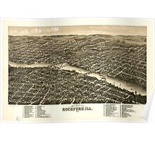 Panoramic Maps Bird's eye view of the city of Rockford Ill 1880 Poster