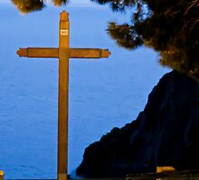 cross in the night light by Anne Scantlebury