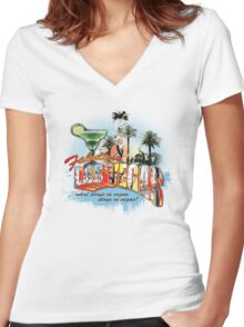 les vegas Women's Fitted V-Neck T-Shirt