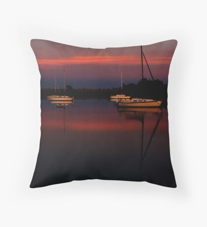 Sunset. Yachts at Aurora Reservoir. Denver. Colorado. USA. Photo 1 Throw Pillow