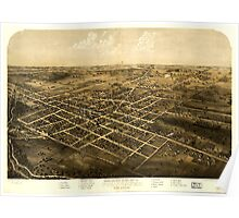 Panoramic Maps Birds eye view of the city of Coldwater Branch Co Michigan Poster