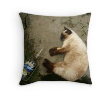 Sleepy Siamese Cat With Set Up Throw Pillow