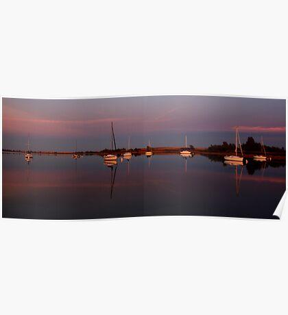 Sunset. Yachts at Aurora Reservoir. Denver. Colorado. USA. Photo 5 Poster