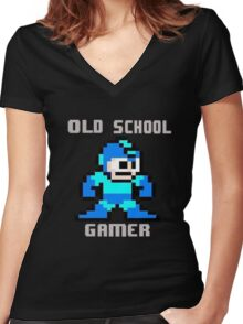 Old School Gamer Women's Fitted V-Neck T-Shirt