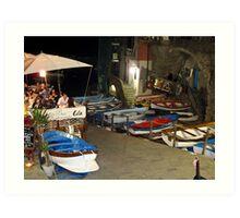 boats at night time Art Print