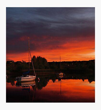 Yacht; lake; reservoir; Aurora Reservoir; Denver; Colorado; USA; dusk; ml_twilight; twilight; lights; reflection; Violet; Tolopea; Orange Photographic Print
