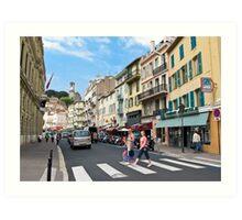 crossing the street Art Print
