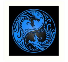 Yin Yang Dragons Blue and Black Art Print