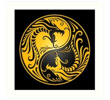 Yin Yang Dragons Yellow and Black Art Print