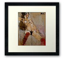 figure with open legs - (study after Schiele) Framed Print