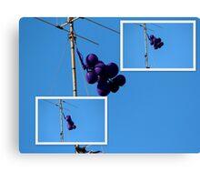 Purple Balloons on A TV Antenna Canvas Print