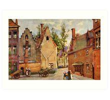 Bruges Place des Tanneurs litho aquarelle Art Print