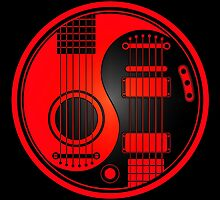 Red and Black Acoustic Electric Guitars Yin Yang by Jeff Bartels