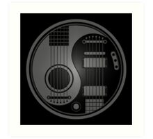 Gray and Black Acoustic Electric Guitars Yin Yang Art Print
