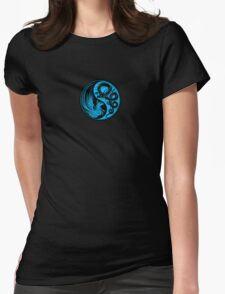 Blue and Black Dragon Phoenix Yin Yang Womens Fitted T-Shirt