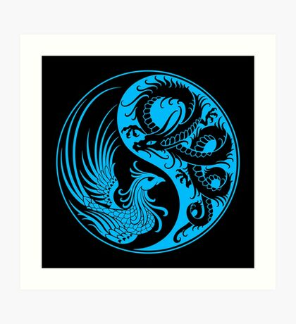 Blue and Black Dragon Phoenix Yin Yang Art Print