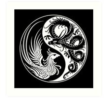 White and Black Dragon Phoenix Yin Yang Art Print
