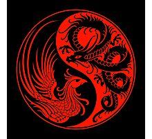 Red and Black Dragon Phoenix Yin Yang Photographic Print
