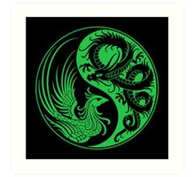 Green and Black Dragon Phoenix Yin Yang Art Print