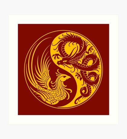 Yellow and Red Dragon Phoenix Yin Yang Art Print
