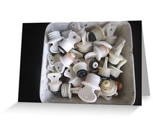 Old ceramic basin, full of hot water bottle taps -(020412)- digital photo Greeting Card