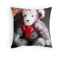 Red Ribbon Bear Throw Pillow