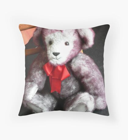 Red Ribbon Bear Throw Pillow