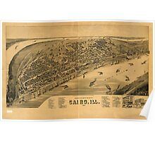 Panoramic Maps Perspective map of the city of Cairo Ill 1888 Poster