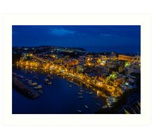 Corricella on the island Procida in Italy at night. Art Print