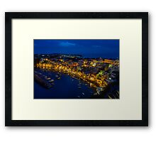Corricella on the island Procida in Italy at night. Framed Print