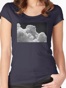 Black And white Sky With Thunderstorm Clouds Women's Fitted Scoop T-Shirt