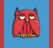 Red Owl aqua red by Mariana Musa