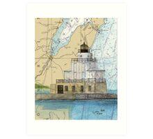 Manitowoc Lighthouse WI Map Chart Cathy Peek Art Print
