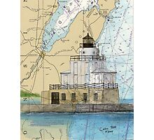 Manitowoc Lighthouse WI Map Chart Cathy Peek Photographic Print