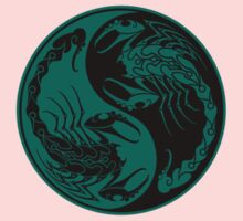 Teal Blue and Black Scorpions Yin Yang  One Piece - Short Sleeve