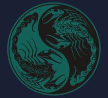 Teal Blue and Black Scorpions Yin Yang  Kids Tee