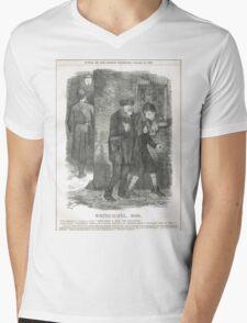 Jack the Ripper Punch Cartoon Whitechapel 1888 Mens V-Neck T-Shirt