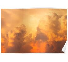 Colorful Orange Yellow Storm Clouds At Sunset Poster