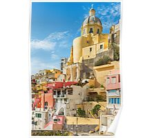 Pastel coloured architecture in Italy. Poster