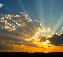 Dramatic Sunbeams And Storm Clouds Over Maine by KWJphotoart