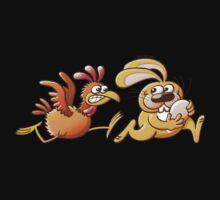 Easter Bunny Stealing an Egg from a Furious Hen Kids Tee