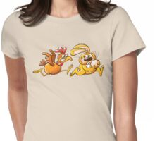 Easter Bunny Stealing an Egg from a Furious Hen Womens Fitted T-Shirt