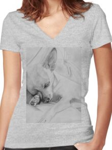 Sleeping Chihuahua Women's Fitted V-Neck T-Shirt